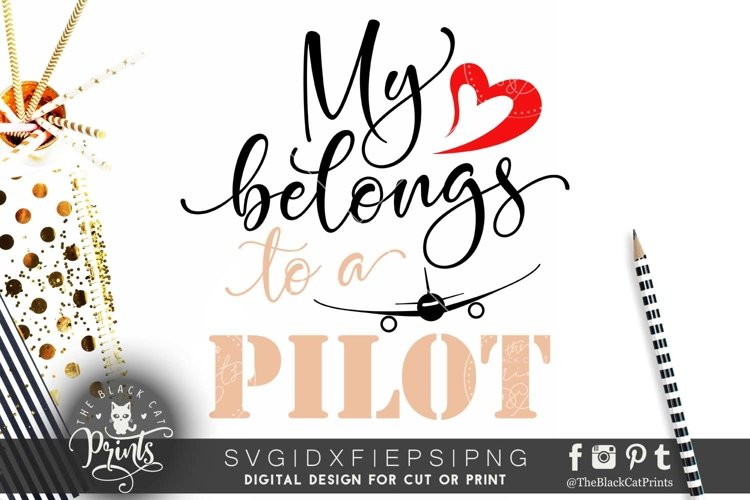 My heart belongs to a pilot SVG DXF PNG EPS example image 1