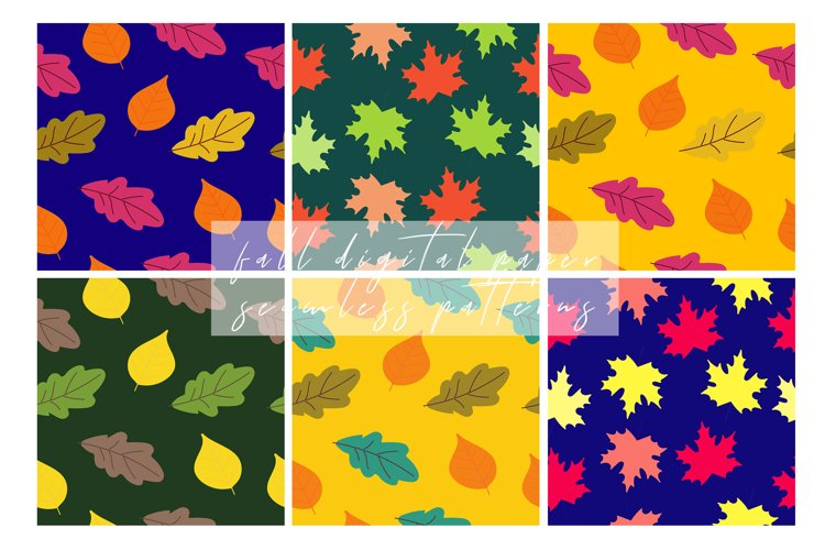 Fall Digital Paper, Autumn Seamless Patterns example image 1