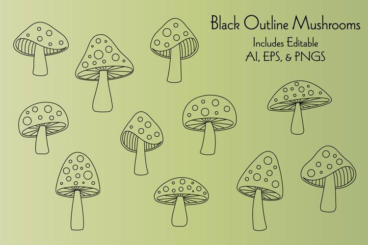 Black Outline Mushrooms Digital Stamps