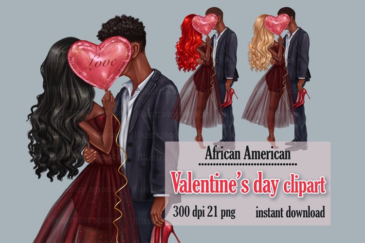 Valentines Day African American couple clipart, Love art