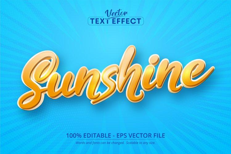 Sunshine text, cartoon style editable text effect example image 1