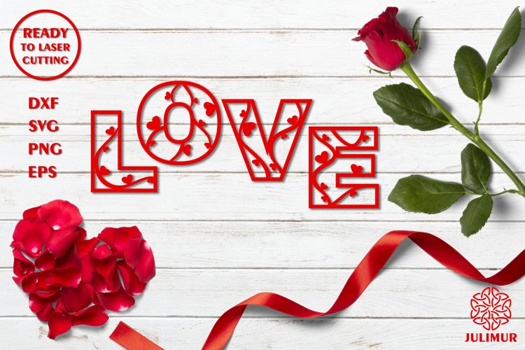 Sign 'Love' for laser cutting, CNC laser cutting template example