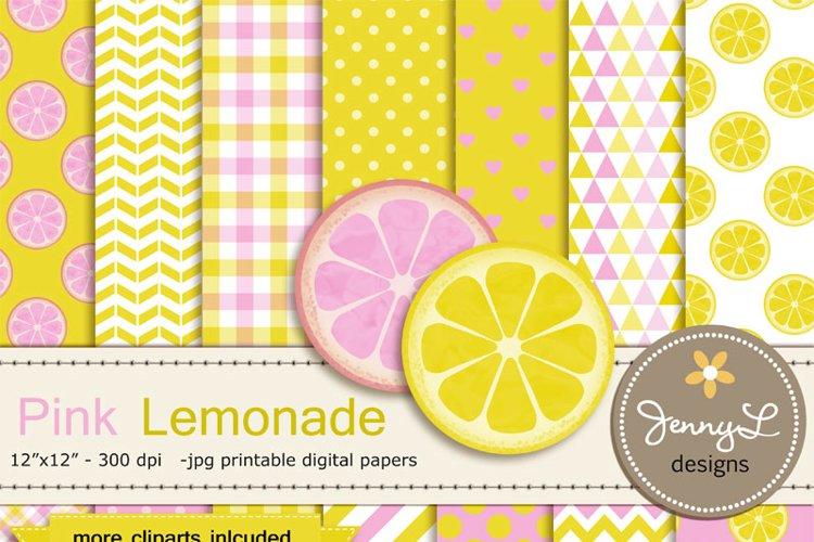 Pink Lemonade Digital Papers and Lemon Clipart example image 1
