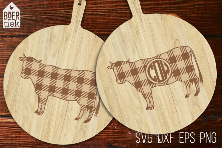 Buffalo plaid cow   Farm SVG cutting file   2 designs