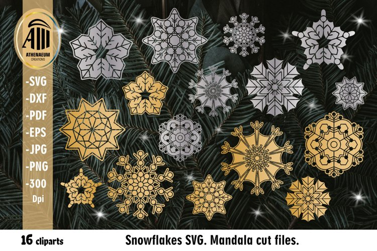 Snowflake SVG. Christmas Snowflake Mandala SVG bundle. example image 1