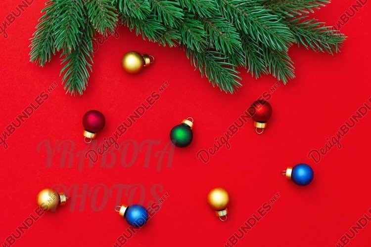 Christmas colorful balls on red, New Year background. example image 1