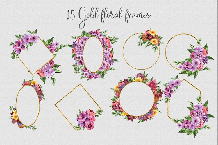 Watercolor floral gold frames png