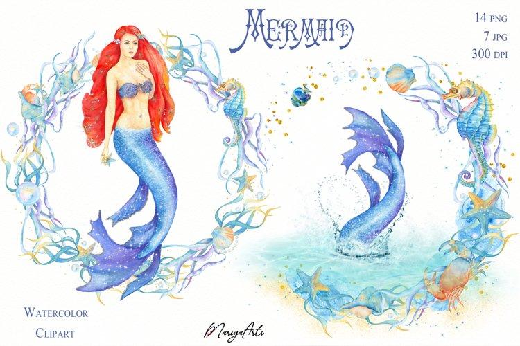 Mermaid Watercolor Clipart, Mermaid Tail, Seaweed Wreath