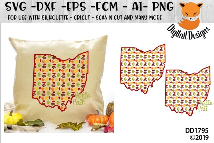 Ohio Autumn Fall Leaves Pattern SVG example image 1