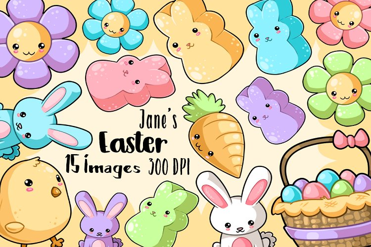 Kawaii Easter Clipart example image 1