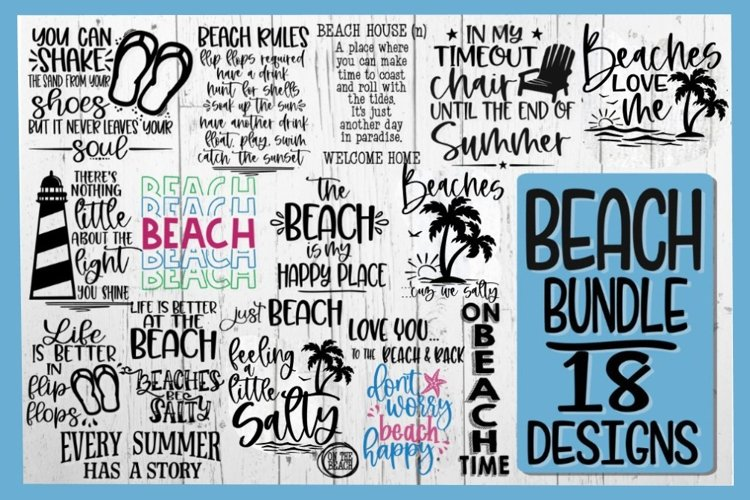 BEACH BUNDLE - 18 DESIGNS - Beach SVG PNG EPS DXF - VOL 5