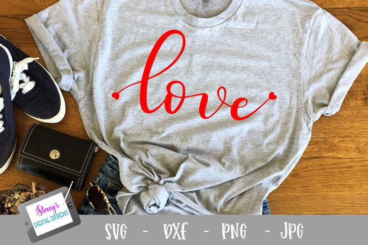 Love SVG with hearts - Valentine SVG file, handlettered example