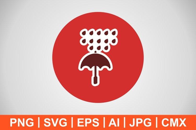 Vector Umbrella And Rain Icon example image 1