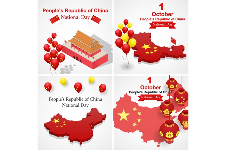 Happy national day in China banner set, isometric style example image 1
