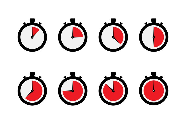 Timer stopwatch icon set example image 1