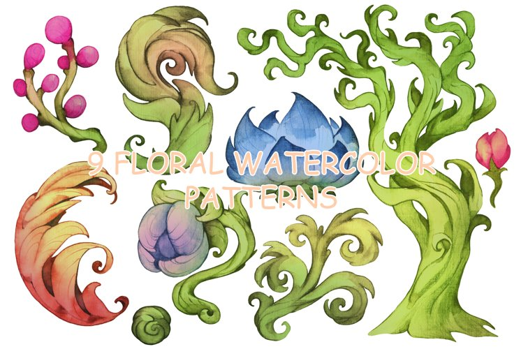 Watercolor floral patterns example image 1