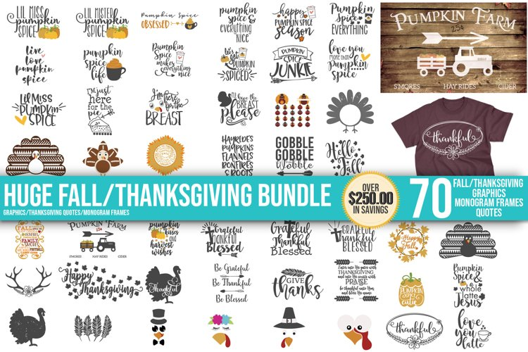 Fall, Pumpkin, Halloween, SVG, PNG, Thanksgiving Bundle, example image 1