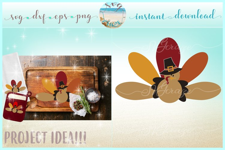 Thanksgiving Holiday Turkey DInner SVG Dxf Eps Png Files example image 1