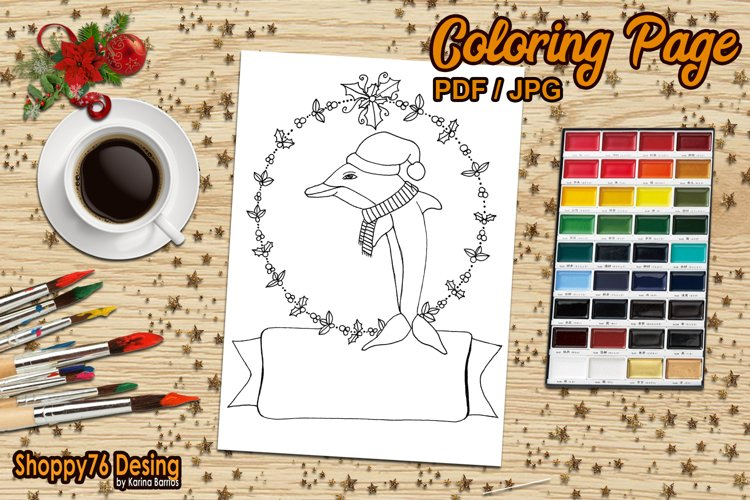 Christmas dolphin / coloring page example image 1