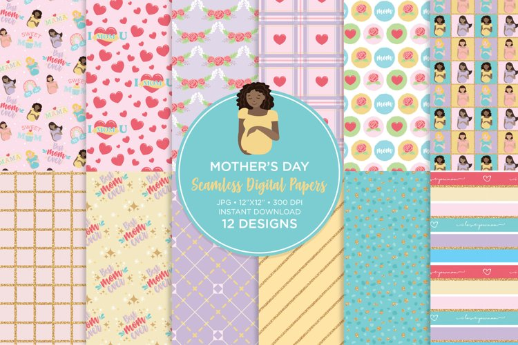 Mother's Day Seamless Digital Paper example image 1