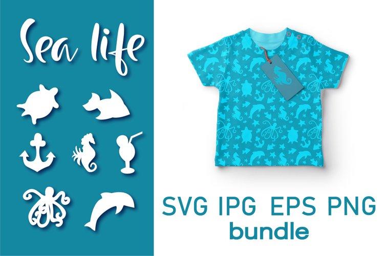 Bundle Summer SVG Cut File. Sea Life SVG.