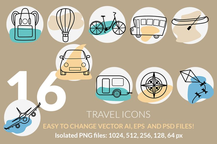 Travel and vacation icons set example image 1
