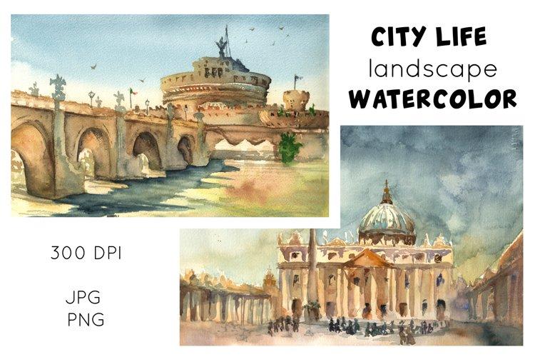 Skyline Cityscape Watercolor Clip Art Sublimation City