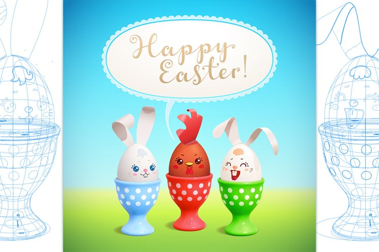 Happy Easter! Vector greeting card. DIY bunnies and egg cups