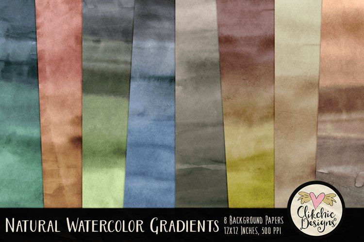 Watercolor Background Textures - Natural Gradient Papers example image 1