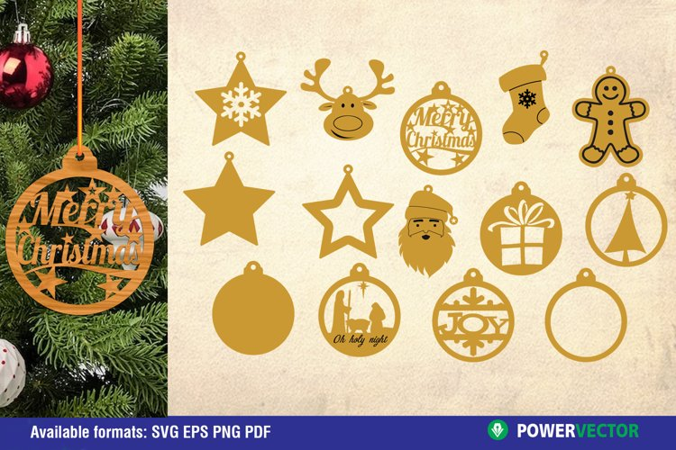 Christmas Ornaments Laser CNC Cutting Engraving Patterns example image 1