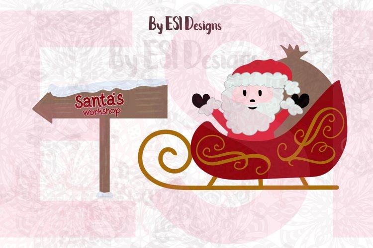 Santa Sleigh and Santa's Workshop Sign - SVG, DXF, EPS & PNG example image 1