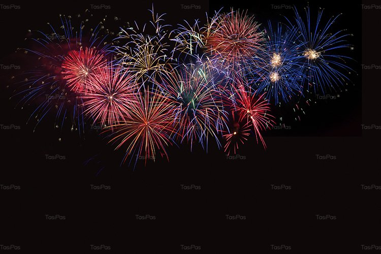 Golden, blue and red fireworks over night sky example image 1