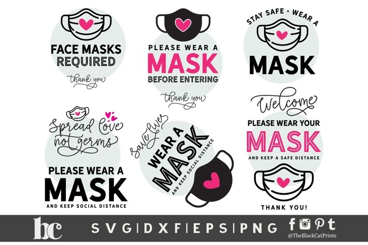 Wear A Mask Signs Bundle SVG DXF PNG EPS|6 Face Mask signs example image 1