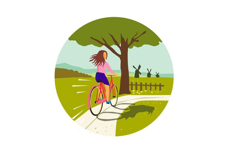 Girl Riding Bicycle Up Tree Circle Retro example image 1
