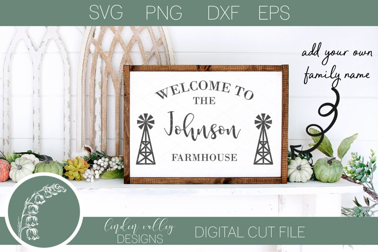 Farmhouse Family Name SVG|Last Name SVG|Windmill Family Name example image 1