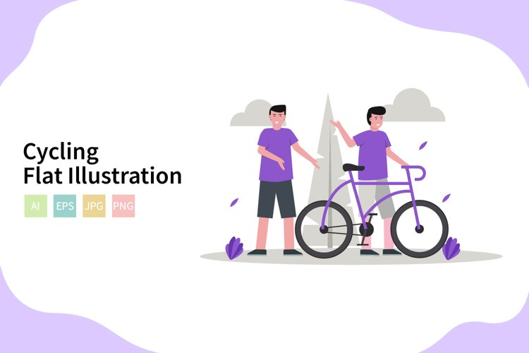 Cycling Illustration In Flat Modern Style example image 1