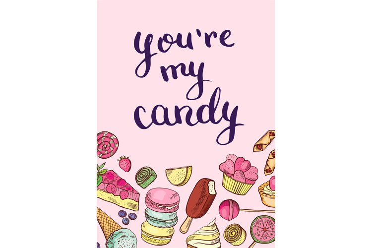 Vector hand drawn sweets card or poster example image 1