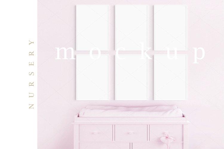 Girl's Room Nursery A4 White Frame Digital Pink Mockup/M207 example image 1