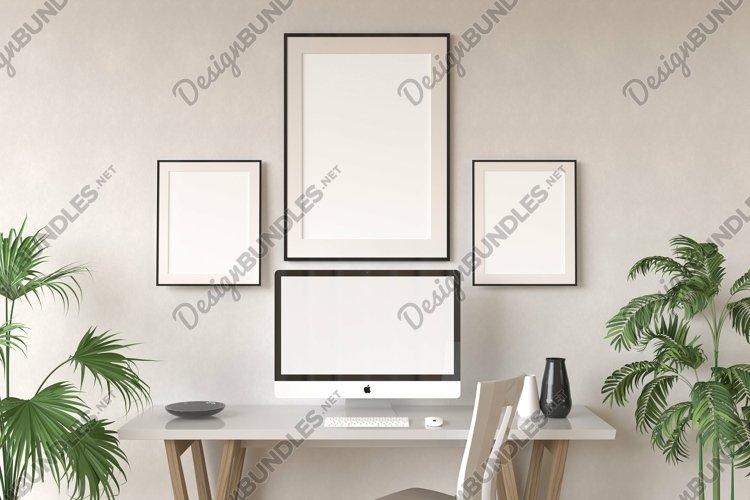Desktop Screen & Frames On A Wall