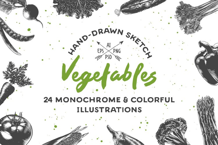Collection of hand-drawn vegetables example image 1