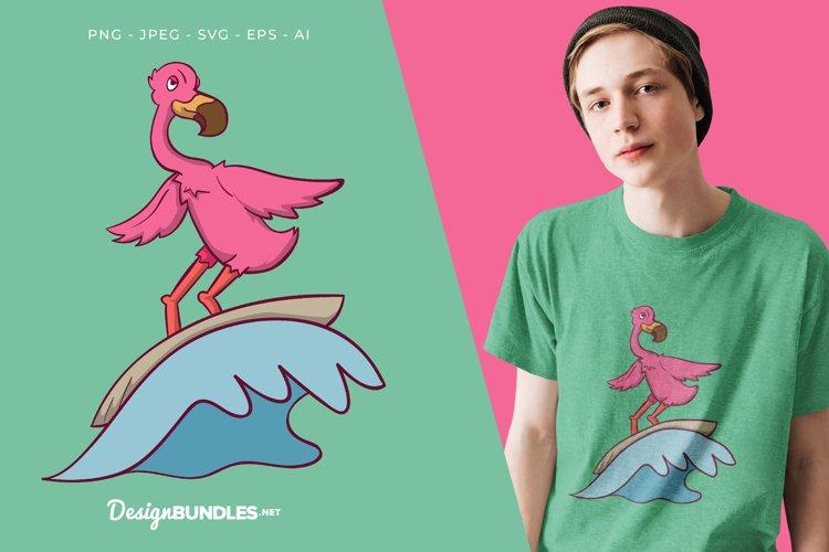 Surfing Flamingo Vector Illustration For T-Shirt Design