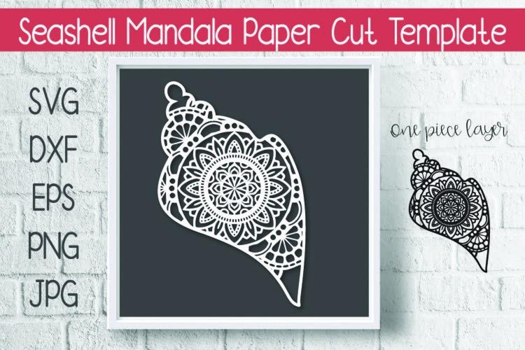 Seashell Mandala Paper Cut Template Design SVG example image 1