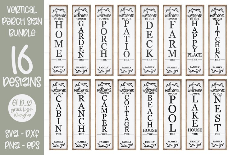 Welcome Sign Bundle - Porch Sign - Family Name Sign SVG