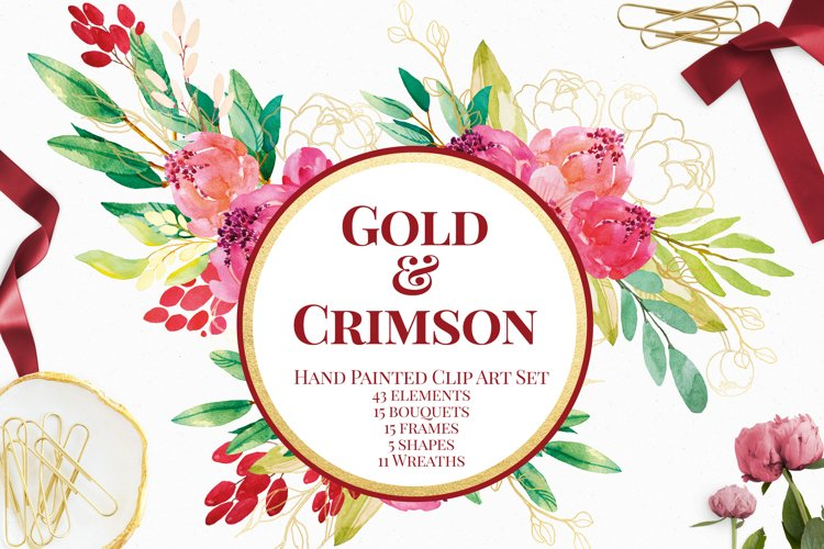 Gold and Crimson Watercolor Flowers Clip Art
