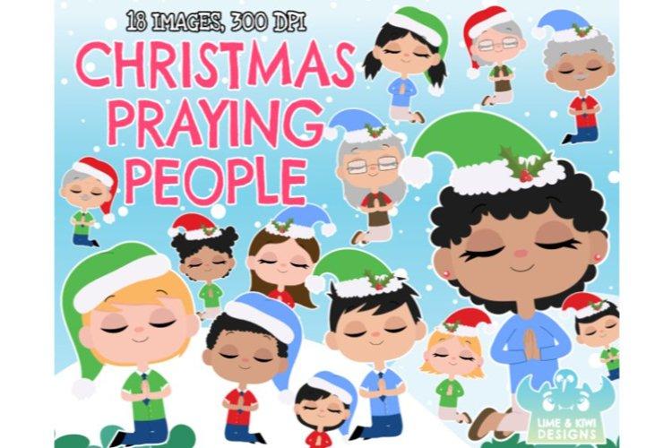 Christmas Praying People Clipart - Lime and Kiwi Designs