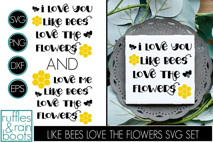 Like Bees Love the Flowers SVG - TWO Cut Files Bee Hexagons example image 1