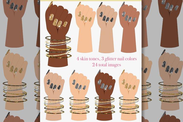 Nail polish clipart, hand pose, glitter nails, nail salon