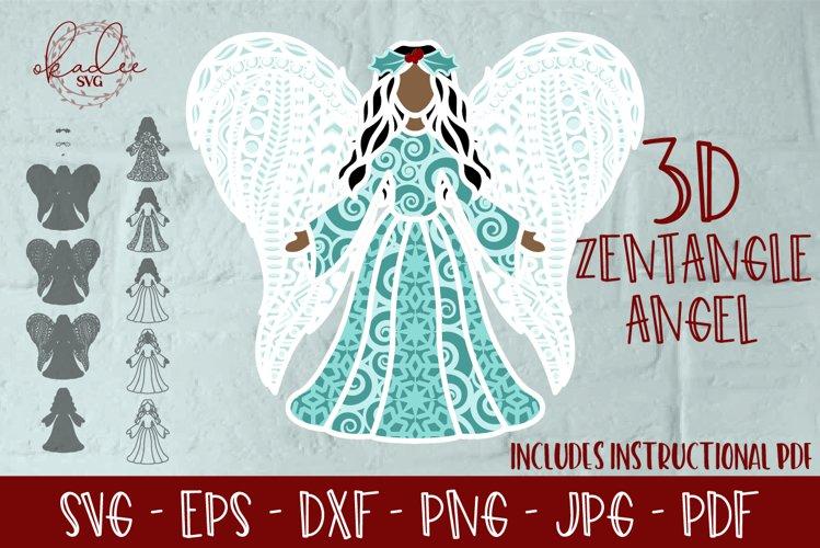 3D Layered Christmas Angel, Memorial Angel SVG, Angel Wings