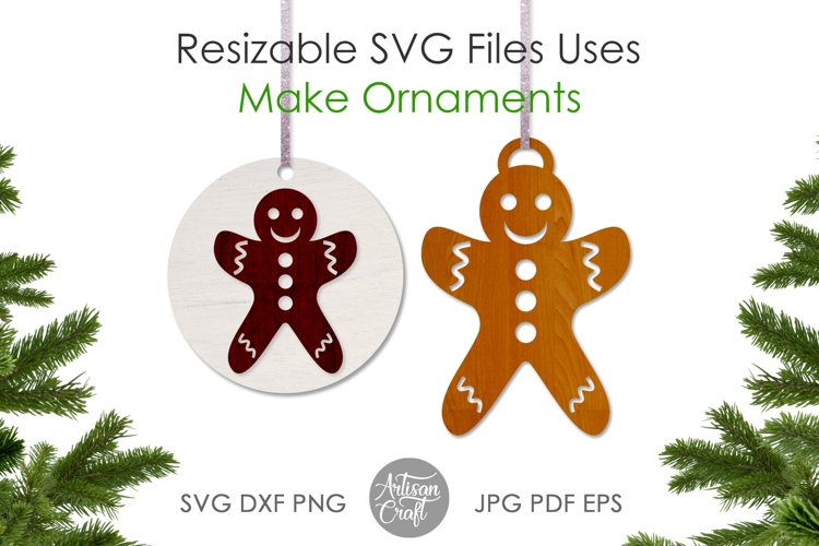 Gingerbread cookies SVG, laser cutting files, ornament example 4
