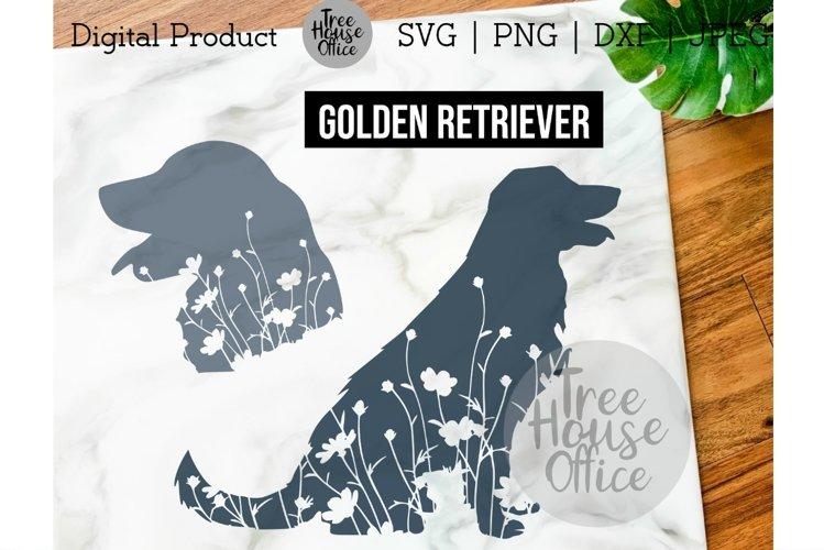 Golden Retriever Dog Floral SVG, Cute Retriever with Flowers example image 1